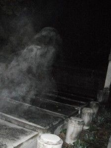 Mike Krause photo of what appears to be a ghost at Jones cemetery on November 9th, 2011. The grave is that of Emma Jones.