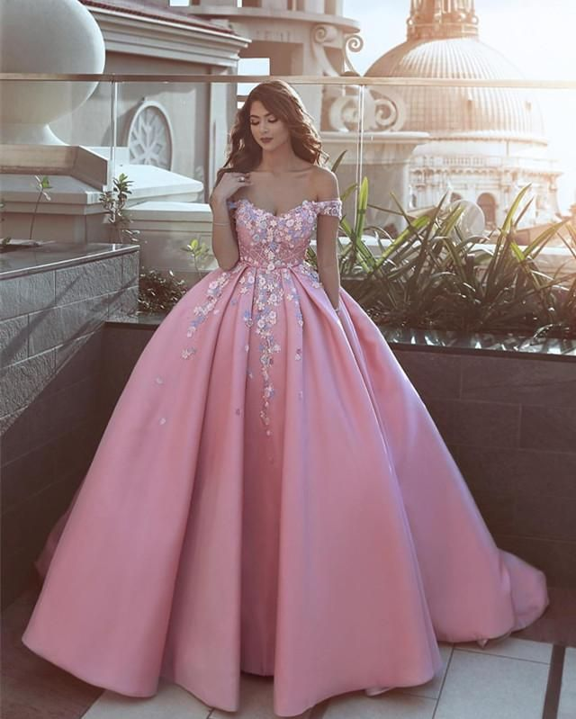 d590fd0973 Pink Satin Ball Gown Prom Dresses V-neck Off The Shoulder With 3D ...