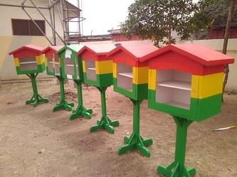Bookshelves of the Little Free Library in Accra, Ghana.