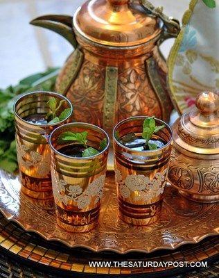 Moroccan Mint Tea - green tea, fresh mint leaves, sugar to taste and either lemon verbenea & jasmine flowers, or cinnamon & cloves.