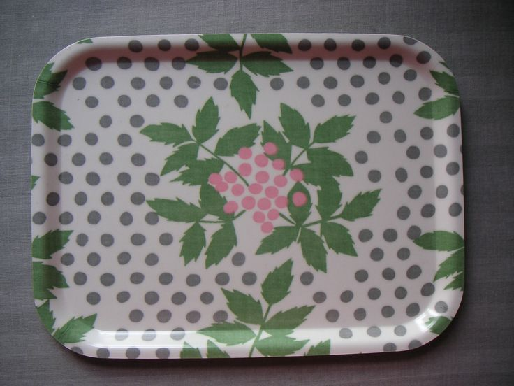 Birchwood tray with fabric (unknown design) 1940s