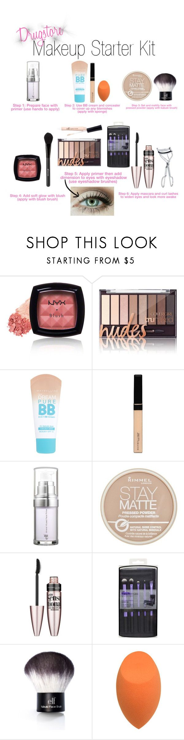 """Drugstore Makeup Starter Kit"" by kate-peters22 ❤ liked on Polyvore featuring beauty, NYX, Maybelline, e.l.f., Rimmel and BBrowBar"