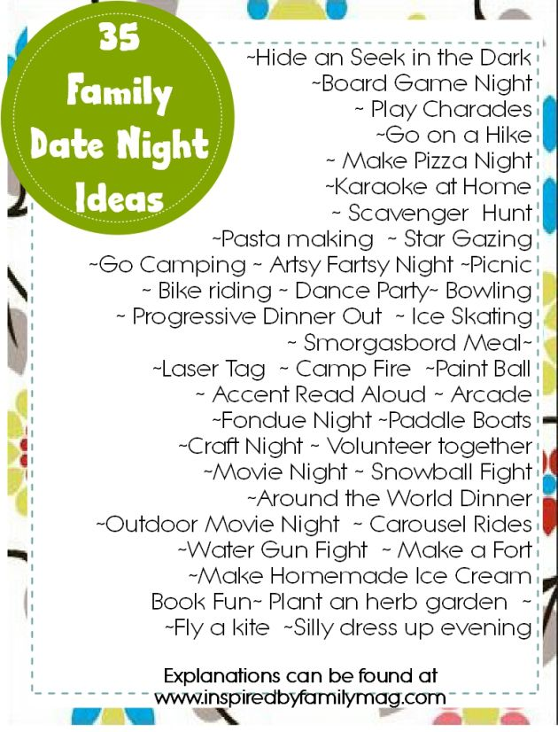 35 Family date night ideas.
