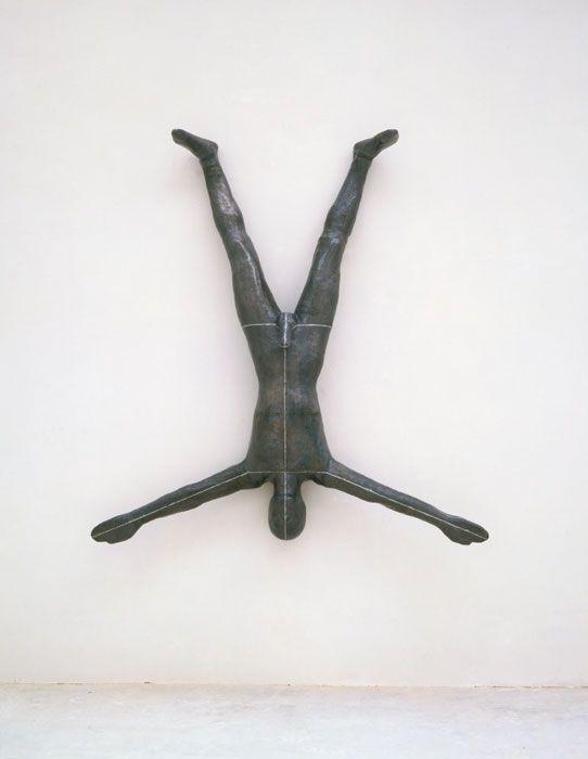 "Antony Gormley [UK] (b 1950) ~ ""AS ABOVE SO BELOW"", 1988. Lead, fibreglass, plaster and air (188 x 181 x 35 cm).   #art #sculpture #figurative"