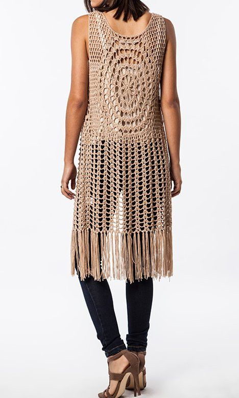 Free Crochet Patterns For Long Vests : sleeveless long Crochet Fringed Vest Crafts To Make ...