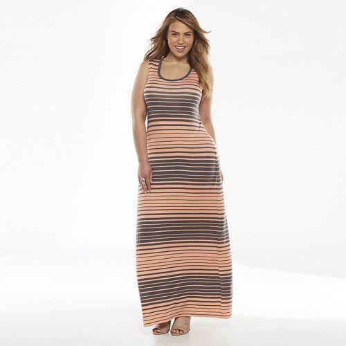 Apt. 9 Stripe Maxi Dress - Women's Plus Size 2X Sienna Peach Color NEW with TAG #Apt9 #Maxi #Casual