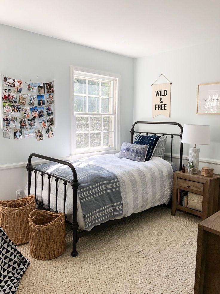 Home Interior White Modern Farmhouse Boy Bedroomm Decor With Iron