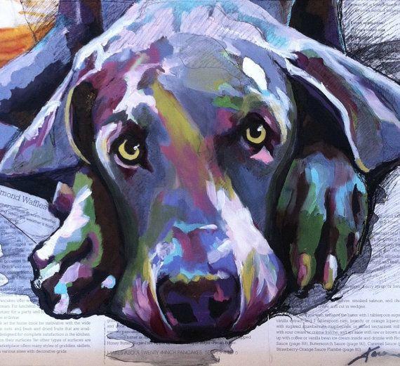 Custom Dog oil painting on steel  original by KarenAnnJonesArt, $125.00
