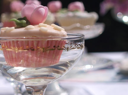Vintage tea party china - shining glassware and cupcakes