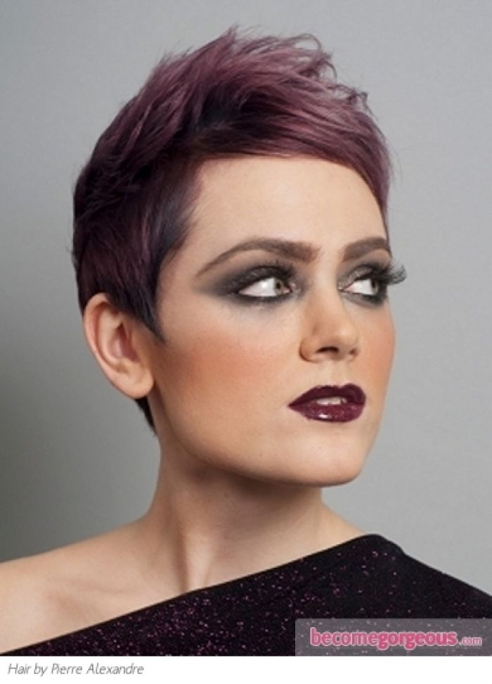 Short Purple Hair Style Punk Girl Hairstyles Pictures Design 390x542 Pixel