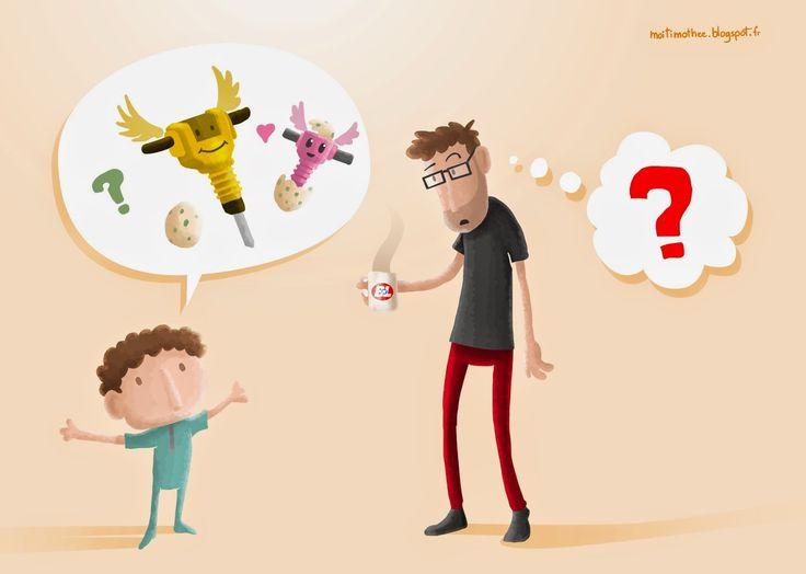 Pas toujours facile de s'y retrouver dans les mots d'enfants...  Pas facile, mais toujours marrant!  (tiré d'une histoire vraie de vrai, qui plus est!)