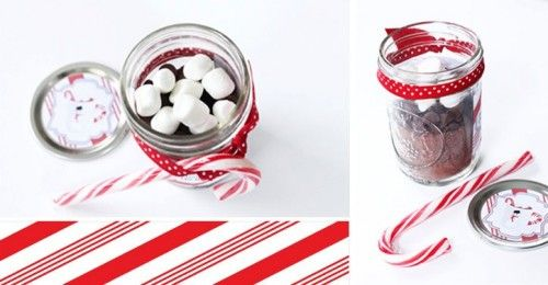 Hot Chocolate in a jar.  A great party favor or even a teacher's gift given along side a holiday mug.