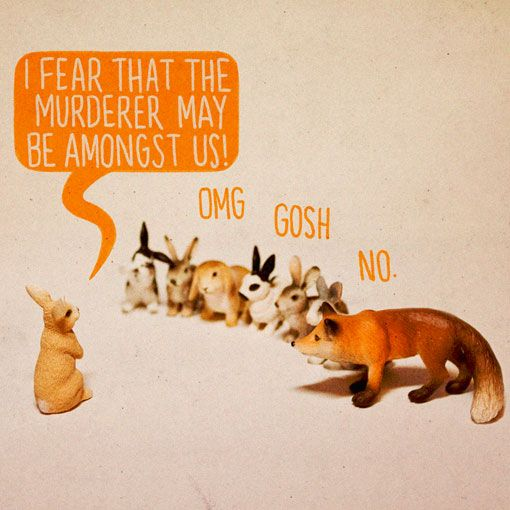 CommunityRabbit, Ales Lewis, Art Prints, Funny, Murder Mysteries, Alternative Art, Bunnies, Foxes, Toys Stories