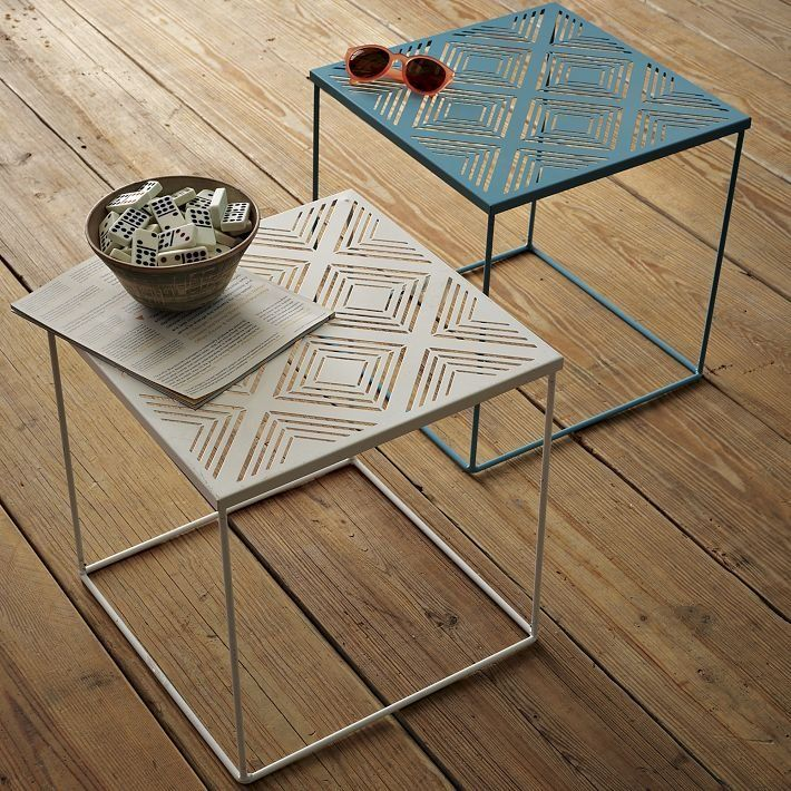 The Euclid Side Table ($50) has a cool cut-out design for its tabletop, and the powdercoated steel frame is weather resistant.