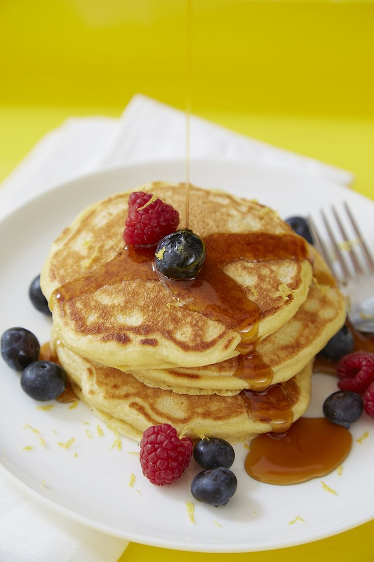 Fluffy Lemon Buttermilk Pancakes Recipe by Giada De Laurentiis www.giadaweekly.com @gdelaurentiis