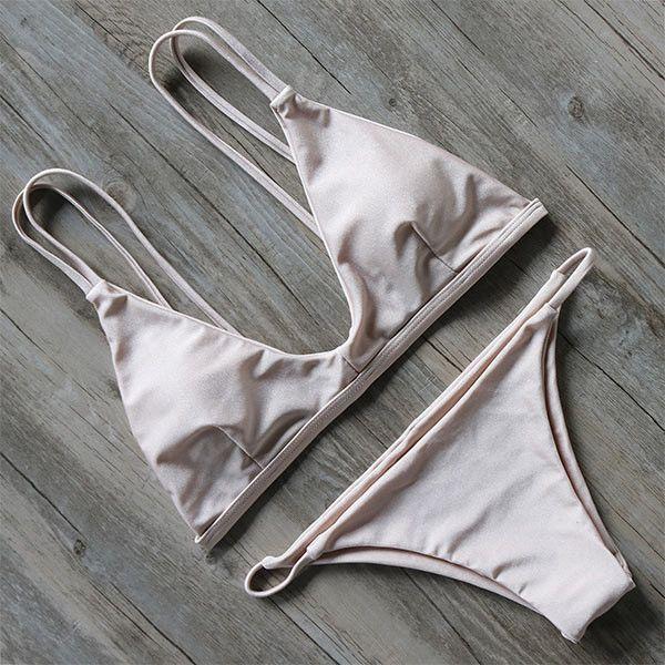 Creme Straight Caged Back Bikini