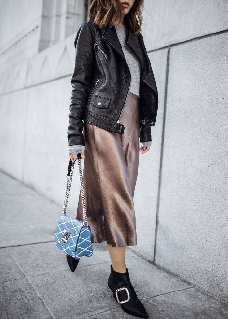 Edge Meets Shine – http://tsangtastic.com | Instagram @tsangtasic    Louis Vuitton Twist Bag, Vince Leather Moto Jacket, Senso Buckle Ankle Boots, Satin Skirt