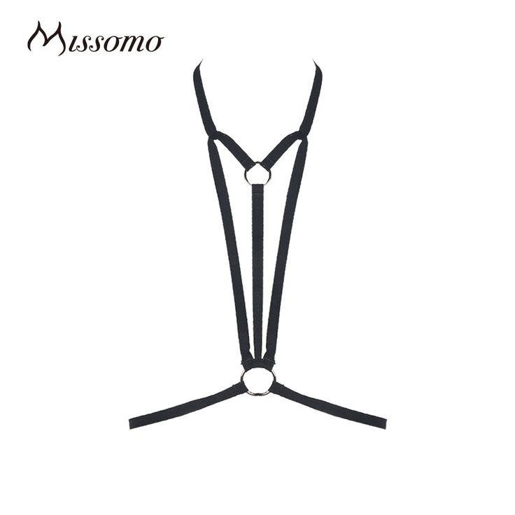 Missomo 2017 Baru Fashion Wanita Hitam Halter Sexy Bondage Harness Bra Bralette Bralet Choker Lembut Kandang