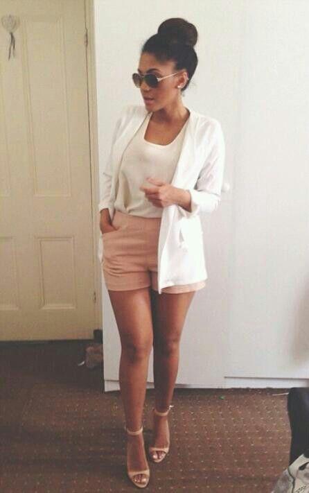 Pink shorts and white blazer Pinterest @airihouston