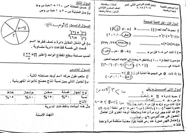 امتحان الرياضيات للصف السادس الابتدائي ترم ثانى 2018 ادارة ابو حمص التعليمية محافظة البحيرة تم امتحانة فعلا Exam Papers Sixth Grade Mathematics