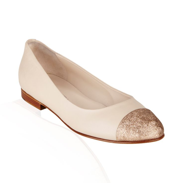 Ivory/Gold Leather Flat - Leave it to Chanel to perfect the trend of ballerina flats with a classic staple to any wardrobe.