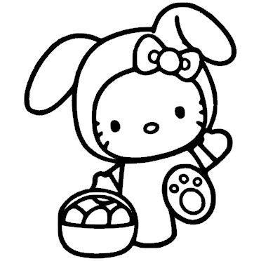 Kleurplaat Hello Kitty Paashaas Hellokitty Pinterest Hello