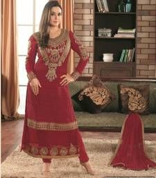 Buy Maroon embroidered georgette semi stitched salwar with dupatta wedding-salwar-kameez online