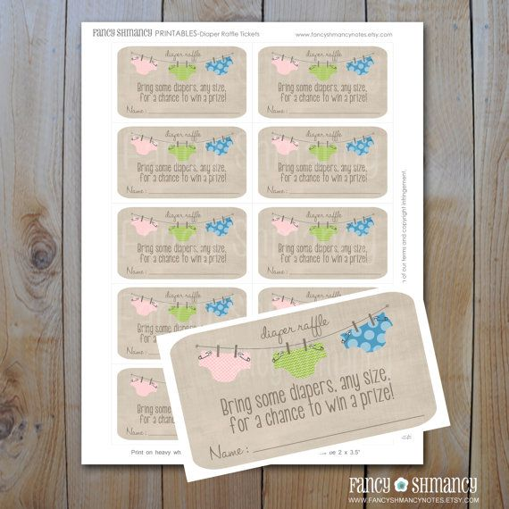 Diaper Raffle / Instant Download / Printable Raffle Ticket for a Baby Shower / Blue, Green, Pink Diapers / Item 1640r on Etsy, $5.00