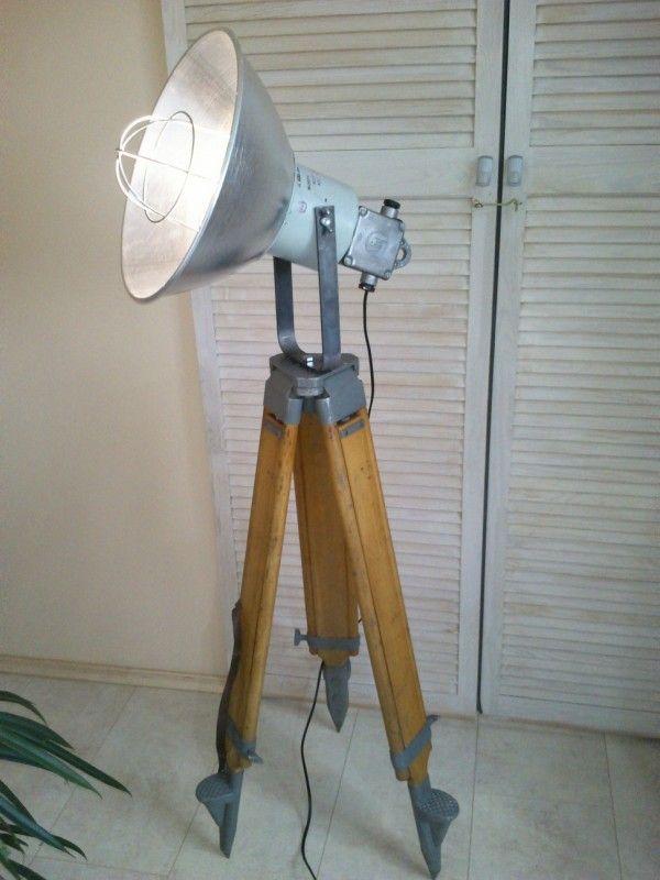 houten statief lamp
