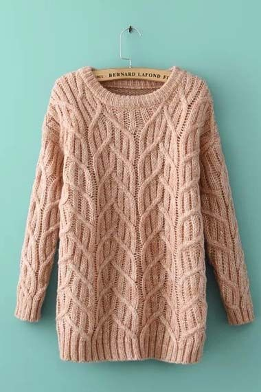 So Pretty! Love Pink! Love the Knitted Branch Pattern! Pink Long Sleeve Knit  Sweater #Love_Pink #Knit #Sweater #Fashion