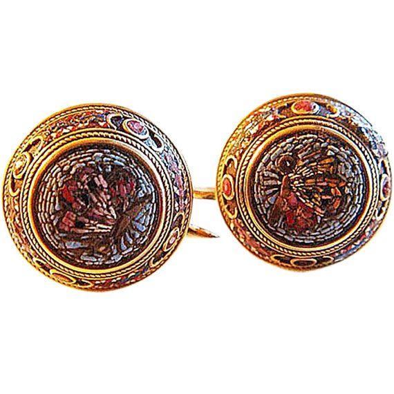 Vittoriano Revival classico Micro mosaico orecchini antichi (#4475)