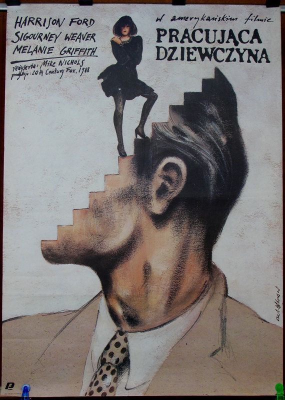 Working Girl - US 1988 film by Mike Nichols. Polish oryginal 1990 poster by Andrzej Pagowski. Comedy. Drama. Romance