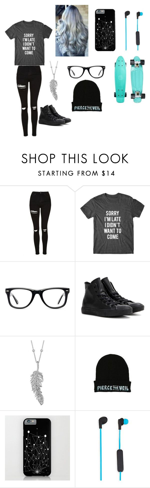"""""""The I Don't Care Look"""" by arly-lopez on Polyvore featuring Topshop, Muse, Converse, Penny Preville and Merkury Innovations"""