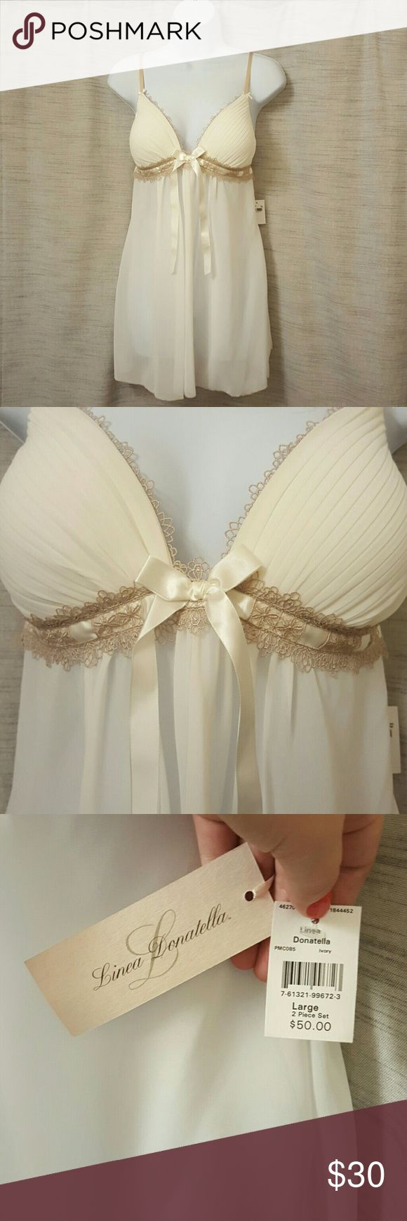 Linea Donatella lingere set Beautiful women's lingerie size large. Brand new with tags, beautiful cream color with matching panty and gorgeous satin accents. Perfect for a bridal shower or lingerie gift! Linea Donatella Intimates & Sleepwear Chemises & Slips