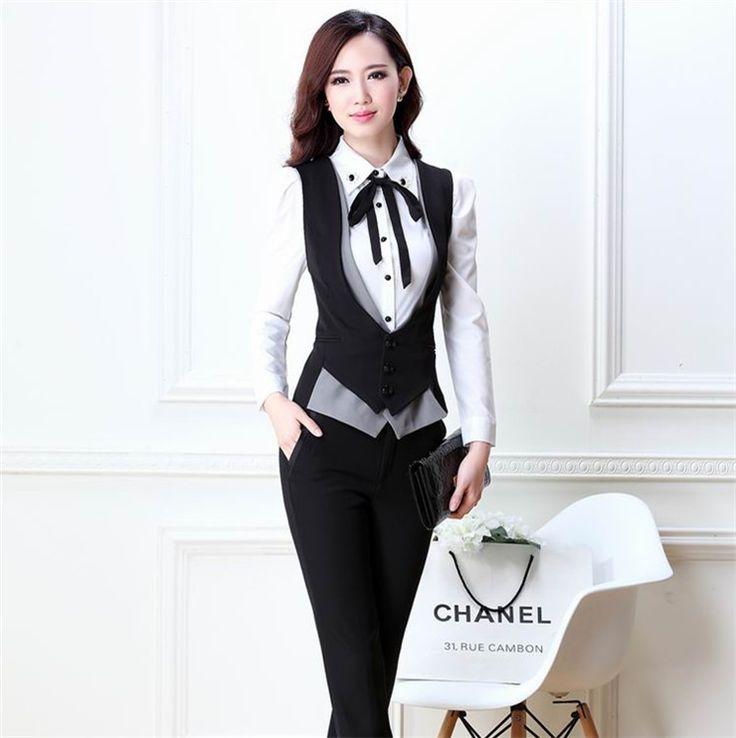 2014 Formal mujeres chaleco con pantalones elegante trajes de pantalones de la oficina para mujer trajes de negocios mujeres chaleco traje pantalón XXXL en Trajes con Pantalones de Moda y Complementos Mujer en AliExpress.com | Alibaba Group