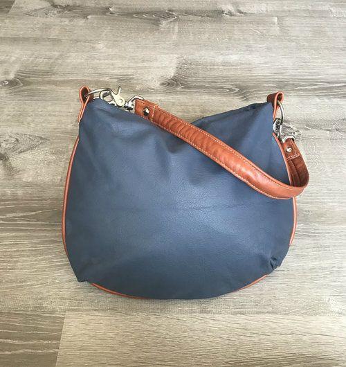 5810a6315272 Hobo Leather Purse Bag - Colorful Tan Indigo Blue Smooth Leather ...