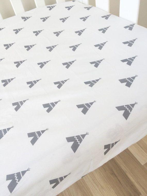 Grey teepee crib sheet - modern Fitted Cot Sheet, Crib Sheet, Nursery Fitted sheet