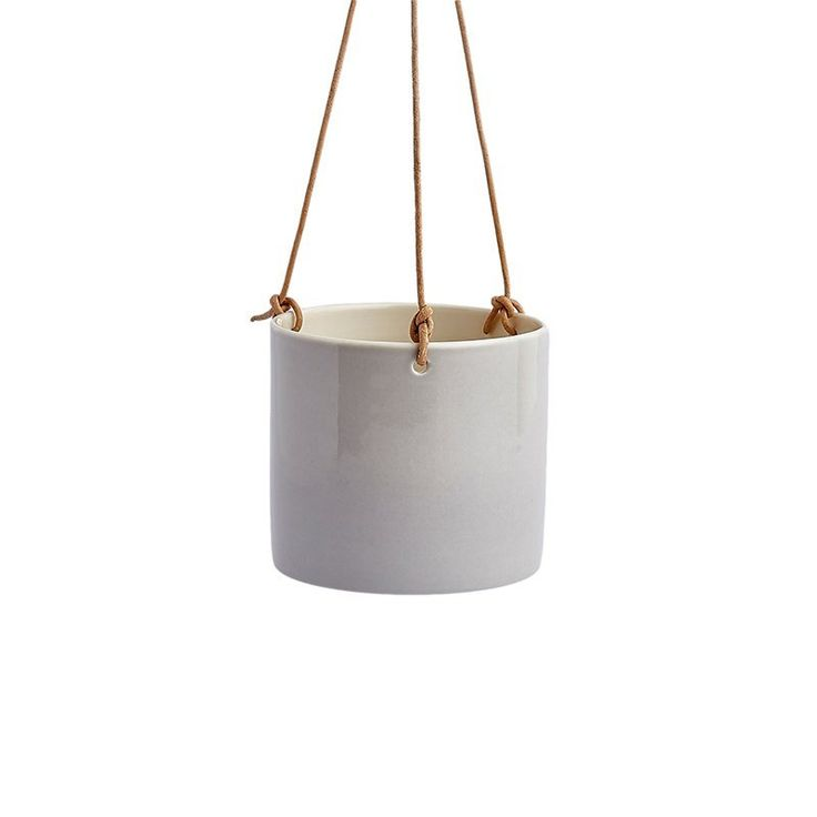 Anne Black Handmade Grow Hanging Flowerpot - Hand thrown, hanging porcelain flowerpot with leather string. Each anne black item offers you that little bit of everyday luxury that you can enjoy with a
