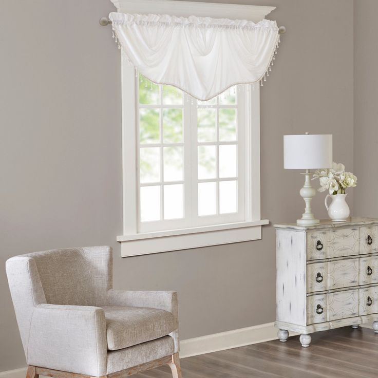 Jla Home Eila Faux Silk Beaded Trim Imperial Valance White