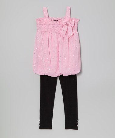 Look at this #zulilyfind! Pink Metallic Bow Tunic & Leggings - Infant, Toddler & Girls #zulilyfinds