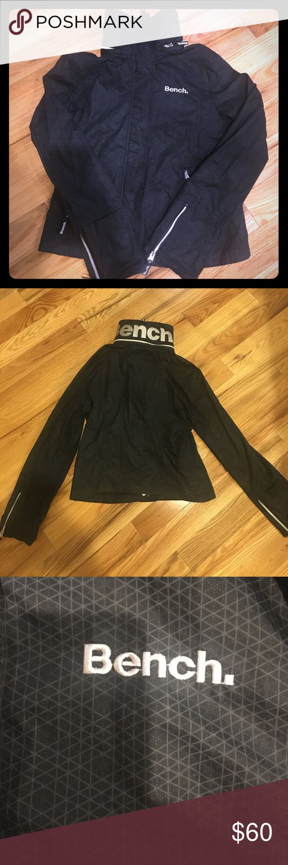 Bench Water Resilient Jacket. Size XL. Bench Water Resilient Black Jacket. Size XL.  Barely worn, no flaws, perfect condition. Hood folds into zipper collar. Tags: rain coat, running, hiking, active wear. Bench Jackets & Coats
