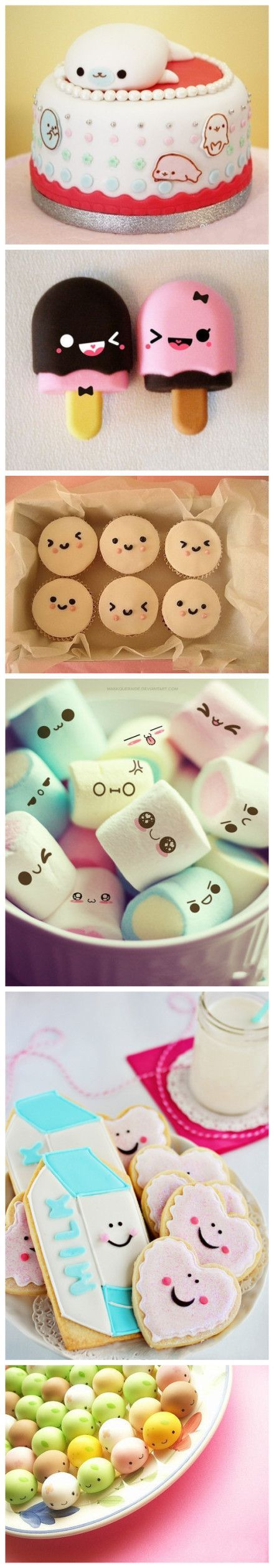 May be polymer clay but this could be done with real food. ~ kawaii faces