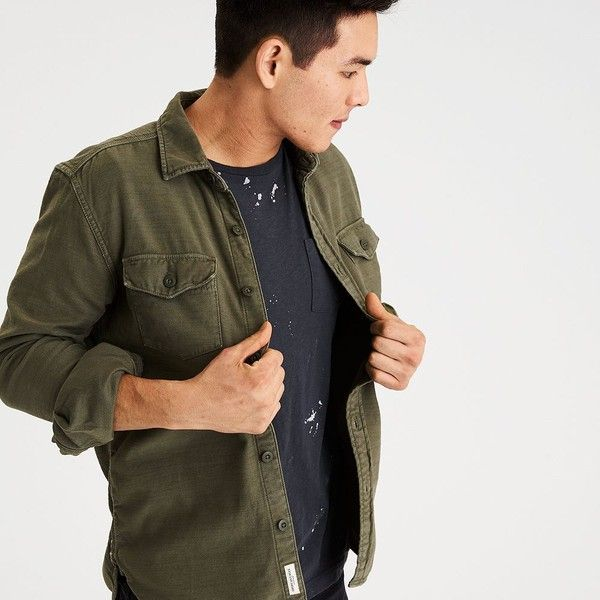 AE MILITARY SHIRT JACKET ($50) ❤ liked on Polyvore featuring men's fashion, men's clothing, men's outerwear, men's jackets, green, mens green military style jacket, mens military style jacket, mens military jacket, mens collared jacket and mens green jacket