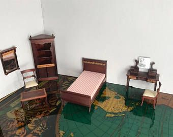 Vintage Dollhouse Furniture 1:12 Wood Block House Miniature Bedroom Set