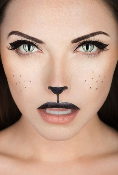 Can't go wrong with this cat costume makeup look!