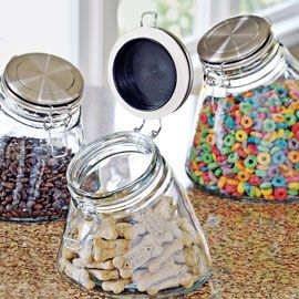 Store food safely in airtight, nontoxic glass jars angled for easy access. Start at $14.98 depending on size