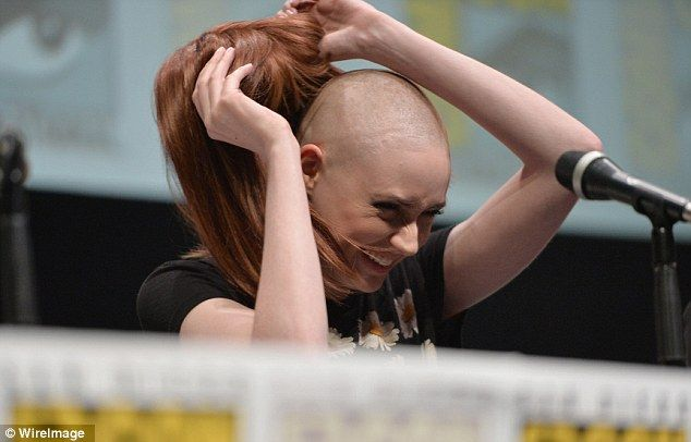 The big reveal: Karen Gillan took off her wig to reveal her hair during the press conference