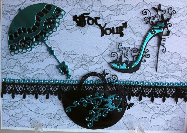 Handbag and Higheel Glam Dies by Tattered Lace Dies. Card designed and submitted by June Smith. For stockists please visit www.tatteredlace.co.uk