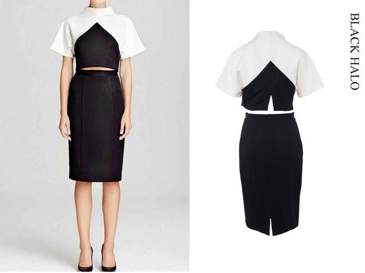 Black halo dress http://shopferosh.com/shop/all-dresses/red-carpet-dresses/black-halo-2-piece-colorblock-outfit/.