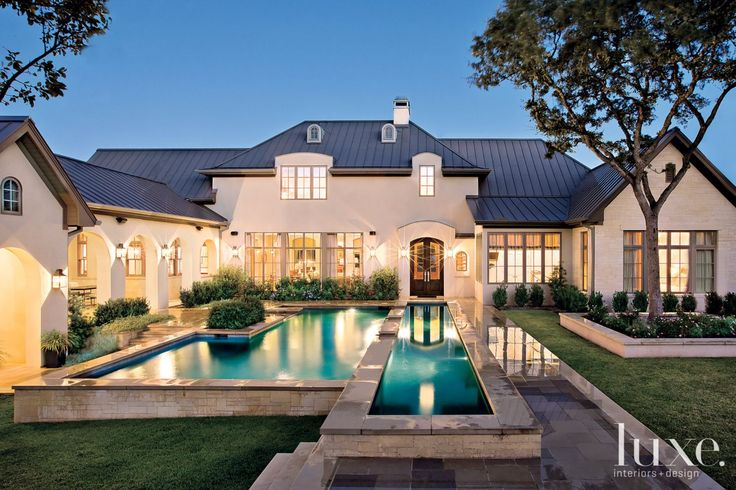 Transitional Cream Front Elevation with Lap Pool